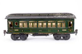Märklin Personenwagen 1888, S 1, CL, mit Inneneinrichtung und 4 AT, LS und gealterter Lack, L 33,