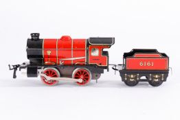 Hornby B-Dampflok, S 0, Uhrwerk intakt, rot/schwarz CL, mit Tender, je im OK, Z 2
