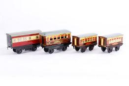 4 Hornby Personenwagen, S 0, je im OK, Z 3