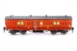 Leeds Model Gepäckwagen 106 NER, S 0, Holz/Blech, rot, LS und Alterungsspuren, L 33, Karton, Z 3