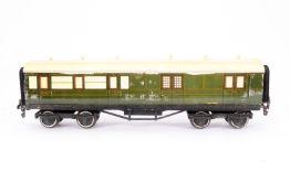 Leeds Model Personen-/Gepäckwagen 2127 SR, S 0, Holz/Blech, grün, LS und Alterungsspuren, L 33,