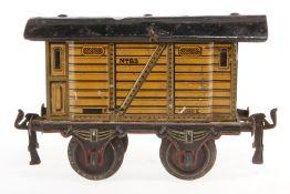 Märklin gedeckter Güterwagen 1863, S 1, uralt, CL, Dach ersetzt, L 14,5, Z 4