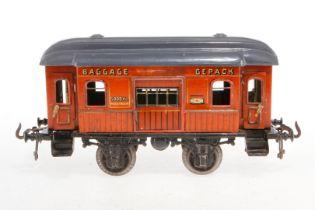 Bing Gepäckwagen, S 1, CL, mit 4 AT und 2 ST, LS tw ausgeb., gealterter Lack, L 23,5, Z 3