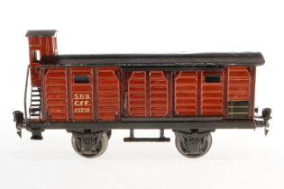 Märklin schweizer gedeckter Güterwagen 1929, S 1, HL, mit BRHh und 2 ST, Schwarzbereiche