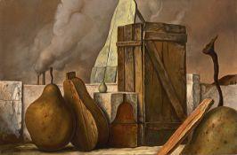 Samuel Bak. o.T. (Surrealistische Komposition mit Birne).