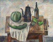 Manfred Böttcher. o.T. (Tischstilleben mit Kanne und grünen Früchten).