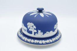 Adams of Tunstall dip blue Jasperware hunting scened cheese dome