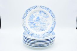 Grainger & Co (Worcester) blue and white 19th century Blue Willow 8 inch side plates (8)