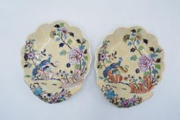 Spode pair of Peacock and Peony shell dishes (2)