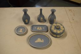 A collection of Wedgwood Blue Jasperware to includes vases, trinkets etc (7)