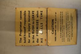 20th century card backed pub notice signs