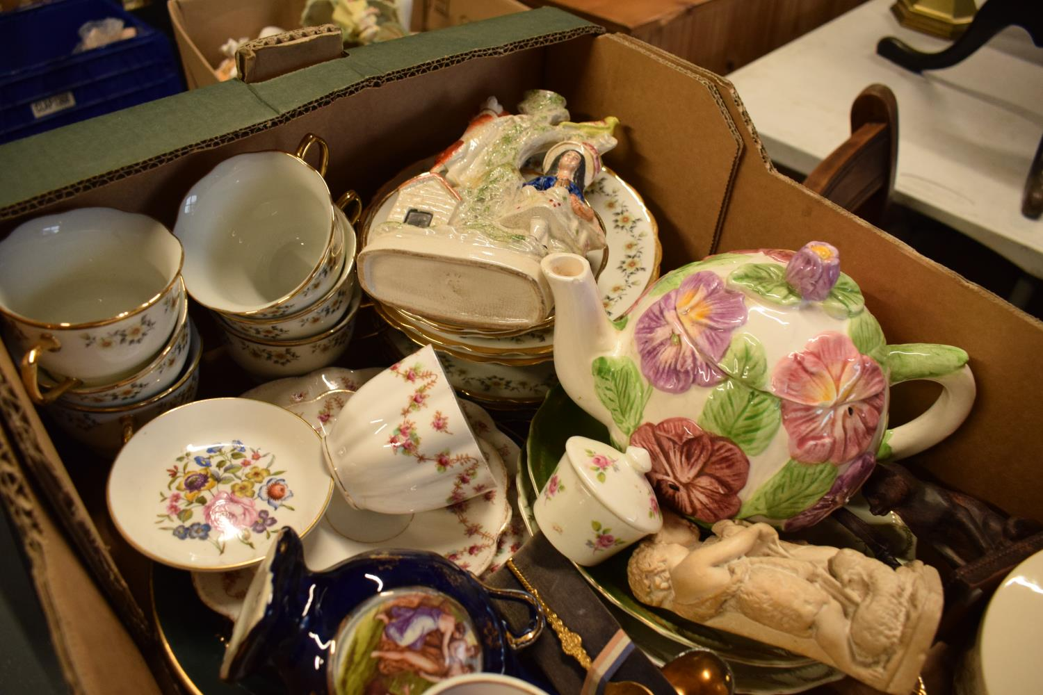 A mixed collection of items to include a Staffordshire flatback, tea ware, vases etc Condition is - Image 3 of 3