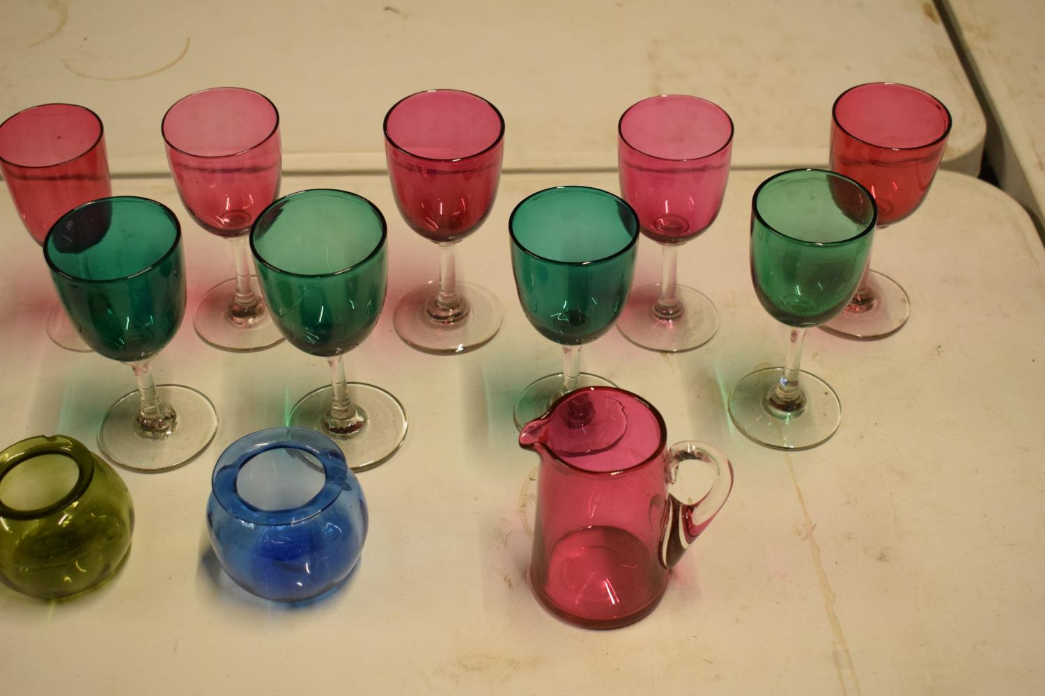 A collection of various coloured 20th glass to include wine glasses of different sizes, bowls etc ( - Image 2 of 6