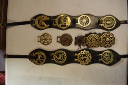 A mixed collection of horse brasses to include a range of modern and old mounted on leathers and
