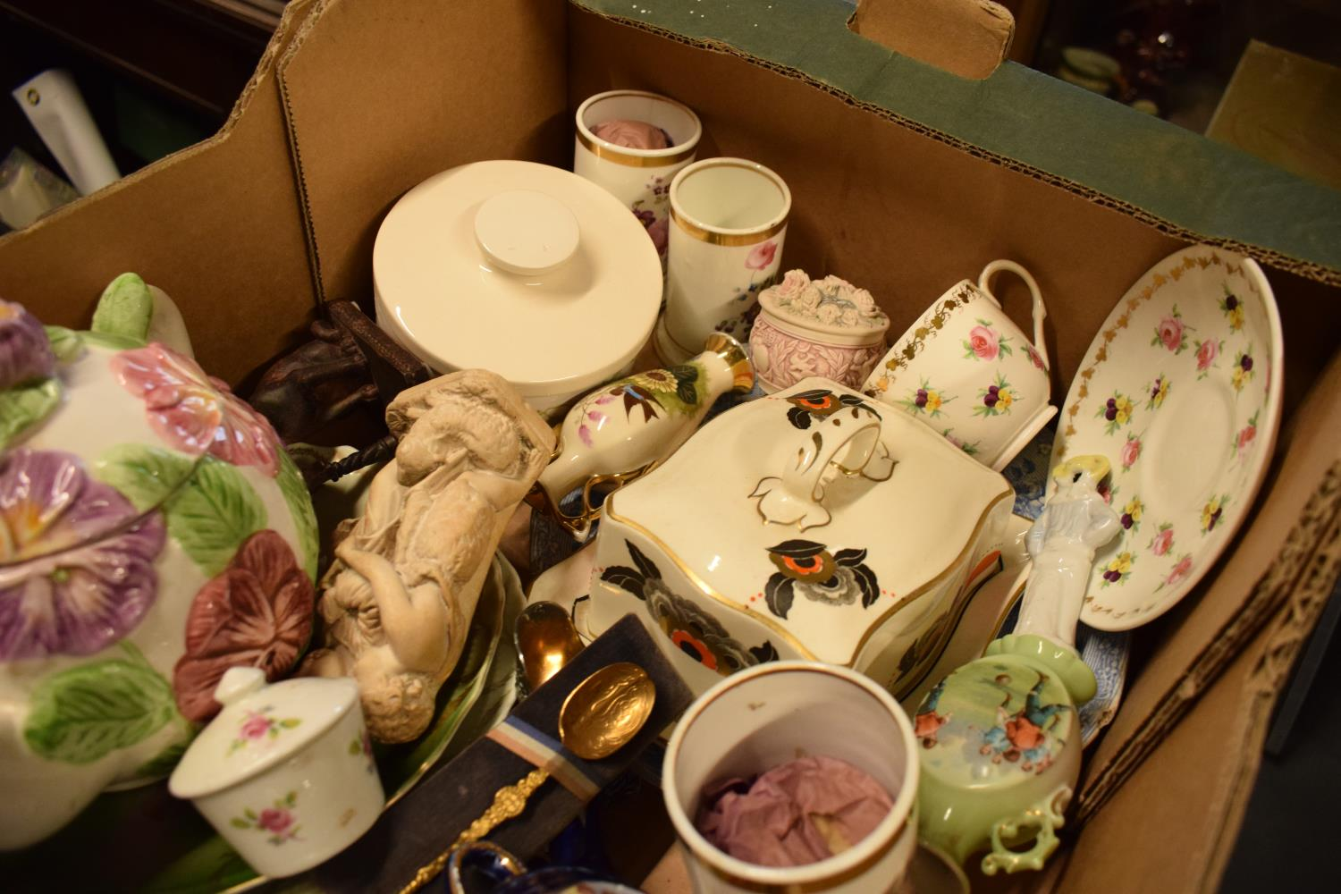 A mixed collection of items to include a Staffordshire flatback, tea ware, vases etc Condition is - Image 2 of 3