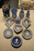 A collection of blue Wedgwood Jasperware to include dip blue jug, lavender holder etc (11 pieces)