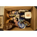A mixed collection of items to include Spode, Carlton Ware, toby jugs, silver plate etc .