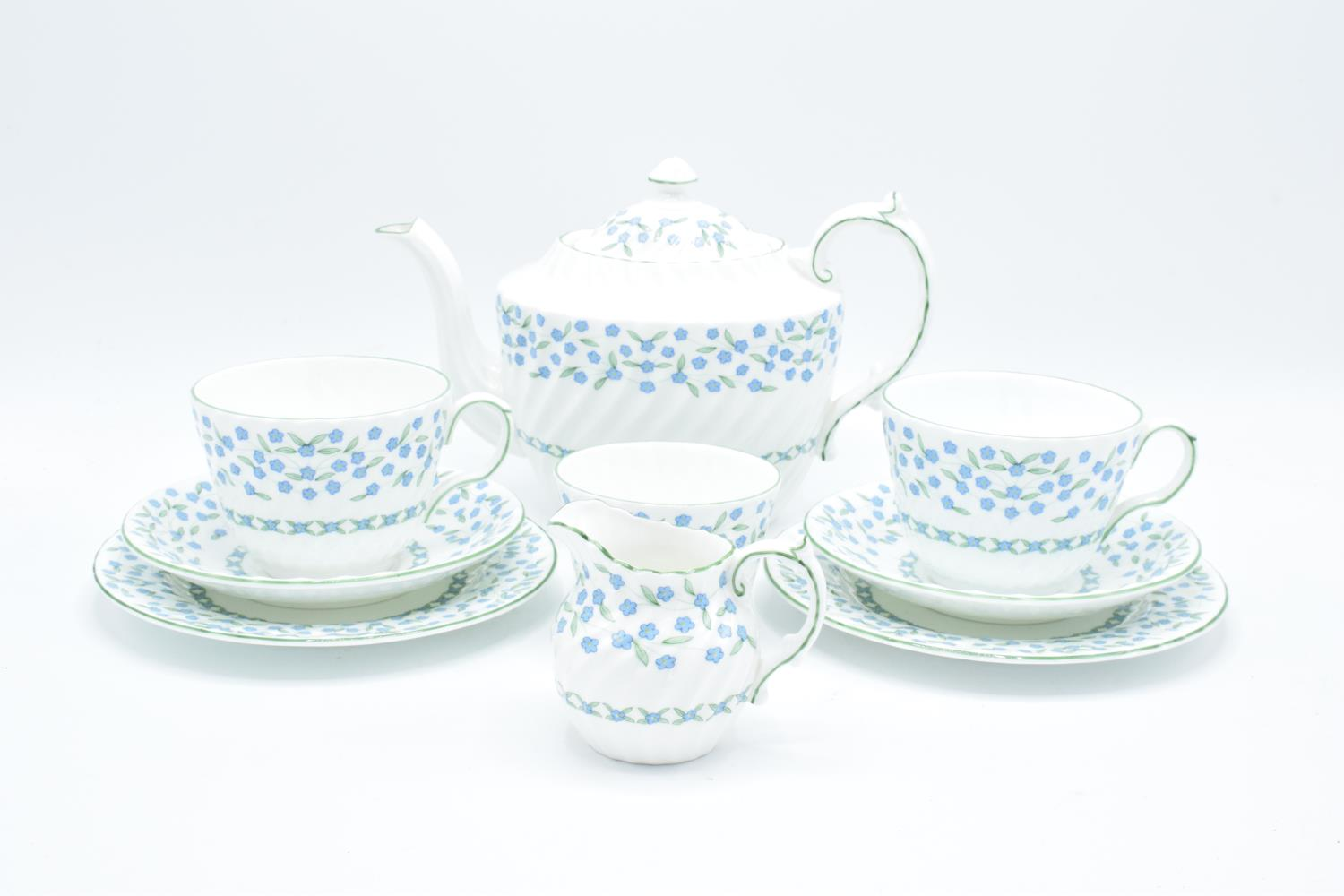 Aynsley Forget Me Not tea for two: teapot, milk, sugar and 2 trios (9) All in good condition without
