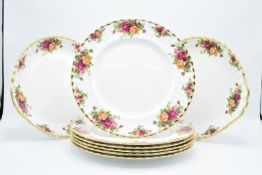 Royal Albert Old Country Roses 10'' dinner plates (6) together with 2 cake plates (8 pieces in