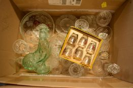 A mixed collection of glass and crystal to include glasses, decanters, tumblers etc .Condition is