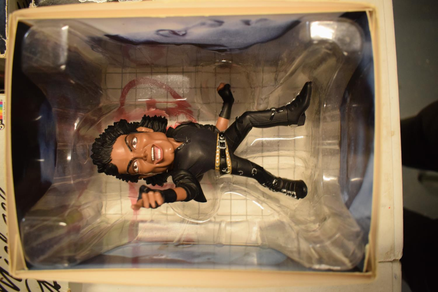 A collection Michael Jackson figures and toys to include 'BAD' figure, electronic microphone and - Image 8 of 9