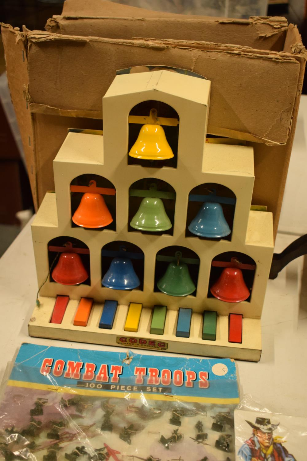 A mixed collection of vintage toys to include dumper trucks, Codeg Melody Bells etc Condition is - Image 5 of 5