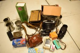 A mixed collection of items to include camera equipment, tankards, novelty cigarette dispenser etc