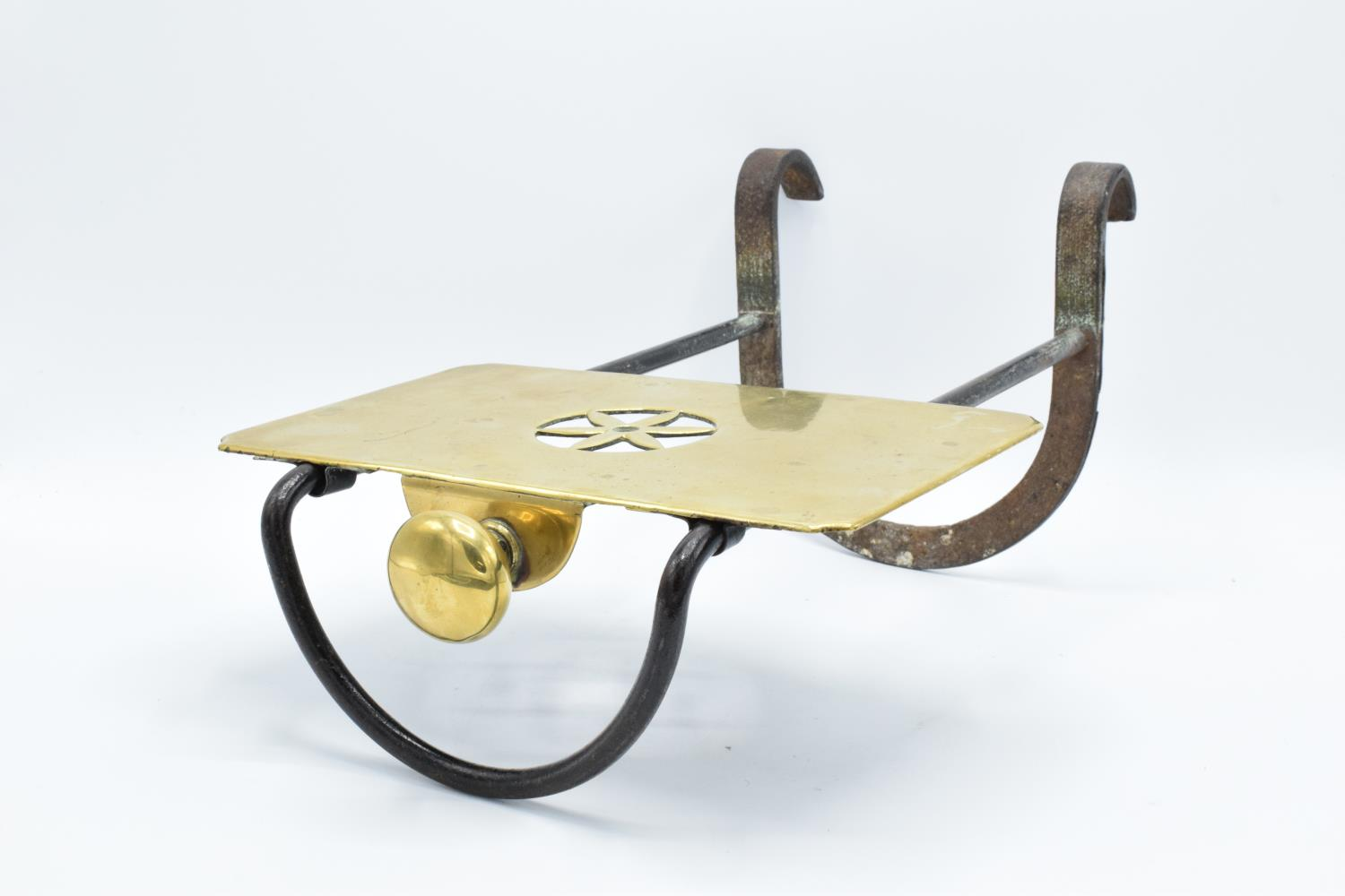 Late Victorian cast iron and brass kettle/ teapot stand for an open fire/ range - Image 2 of 3