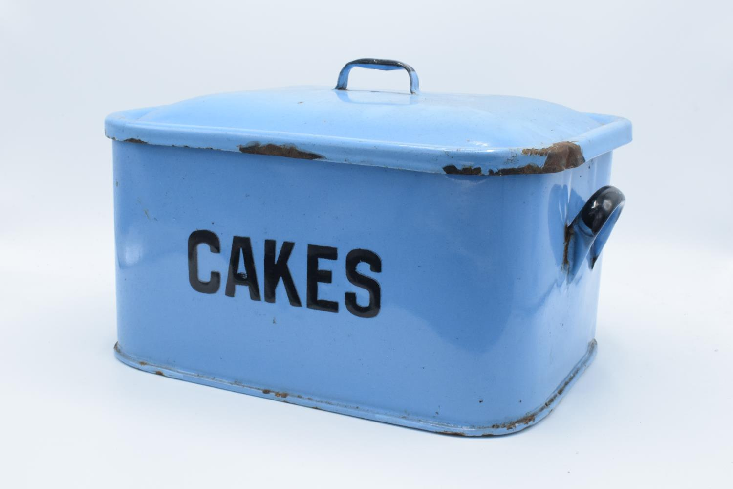 Original 1960s blue enamel cake tin (untouched condition) Loss of enamel in some places, slightly - Image 2 of 3