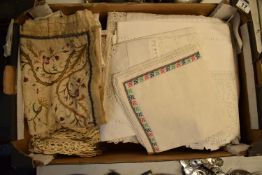 A collection of 19th and 20th century linen and table cloths