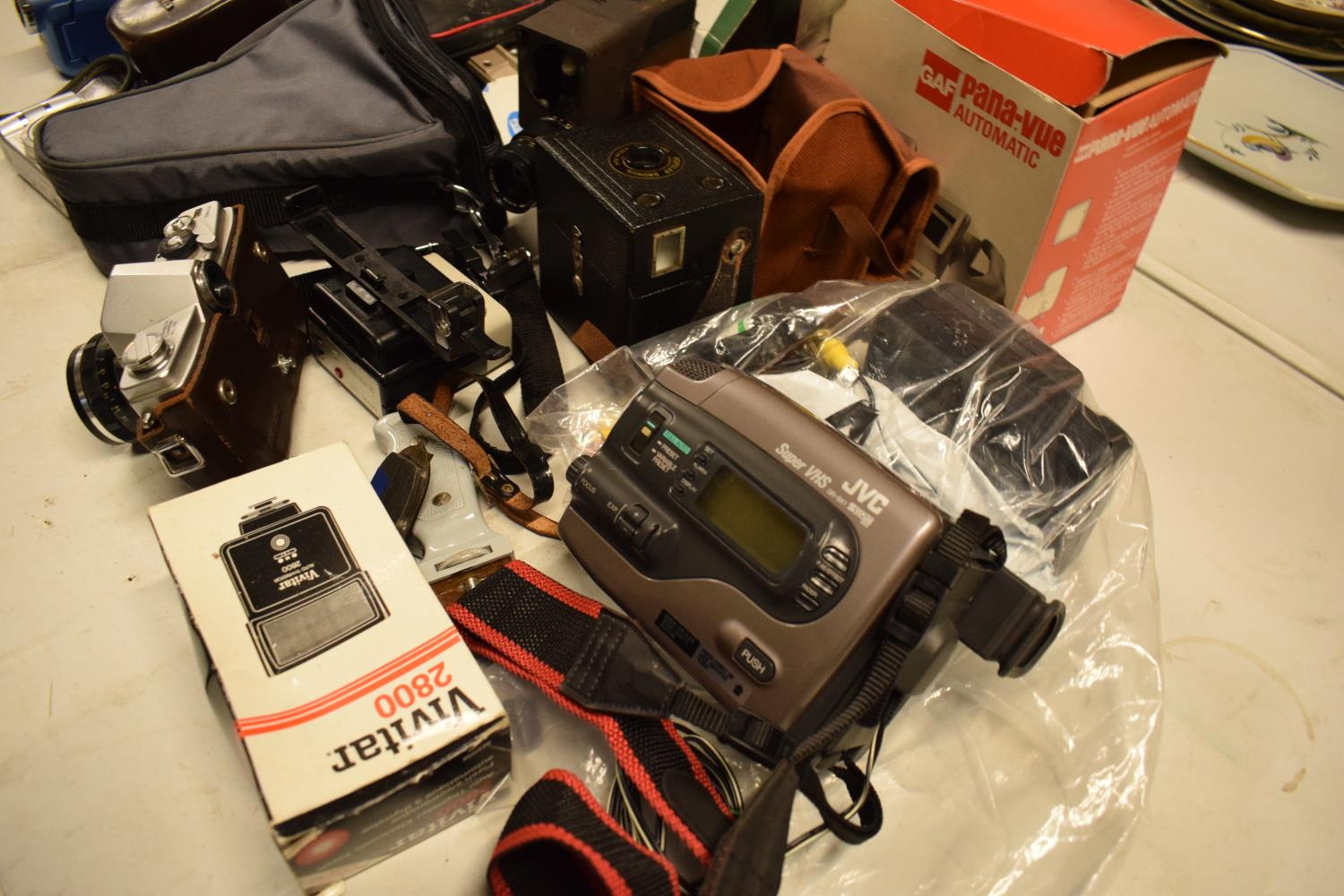 A mixed collection of cameras and accessories to include Kodak, Canon, JVC etc Condition is mixed. - Image 2 of 7