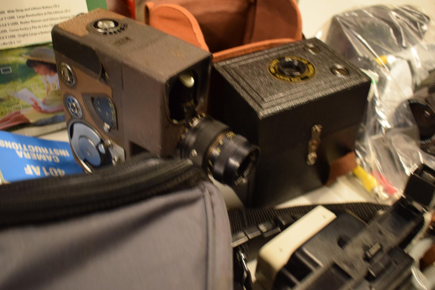 A mixed collection of cameras and accessories to include Kodak, Canon, JVC etc Condition is mixed. - Image 7 of 7