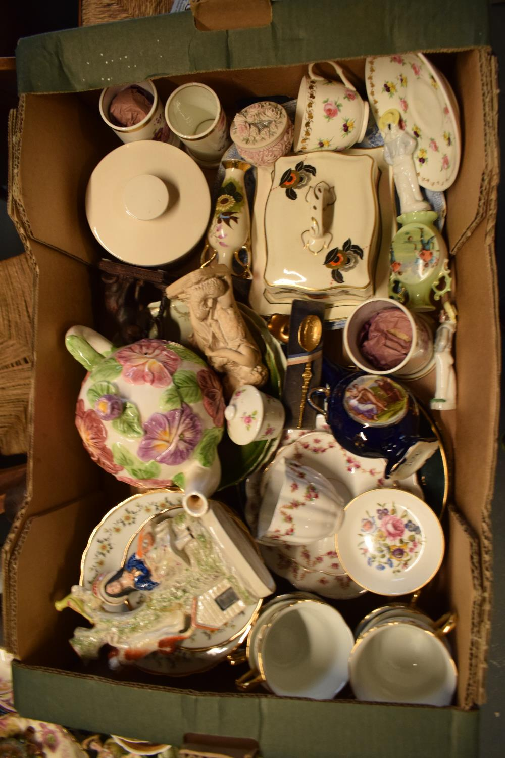 A mixed collection of items to include a Staffordshire flatback, tea ware, vases etc Condition is