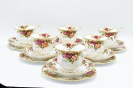 Royal Albert Old Country Roses collection of 6 trios. All in good condition without any obvious