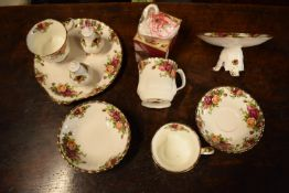 A mixed collection of Royal Albert Old Country Roses to include: raised comport, posy holder, salt