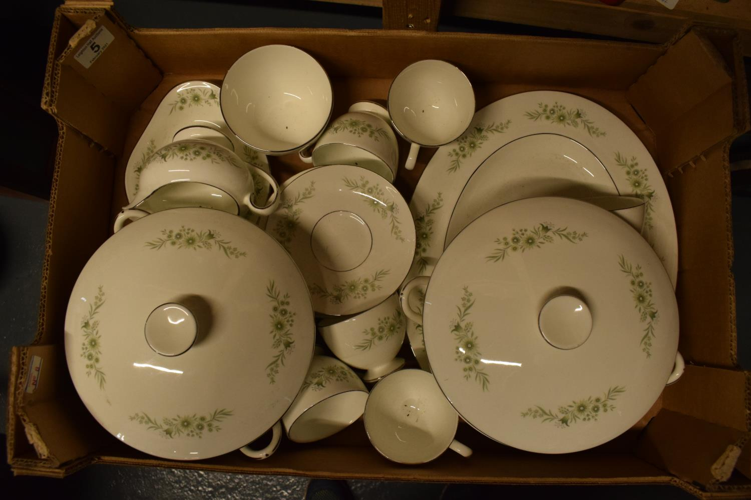 A collection of Wedgwood Westbury tea and dinner ware to include: 2 tureens/ veg dishes, 6 duos,