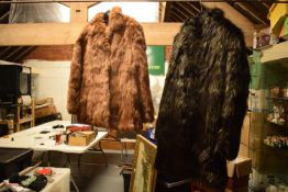 Faux wolf fur coat together with a Coney fur coat (2)