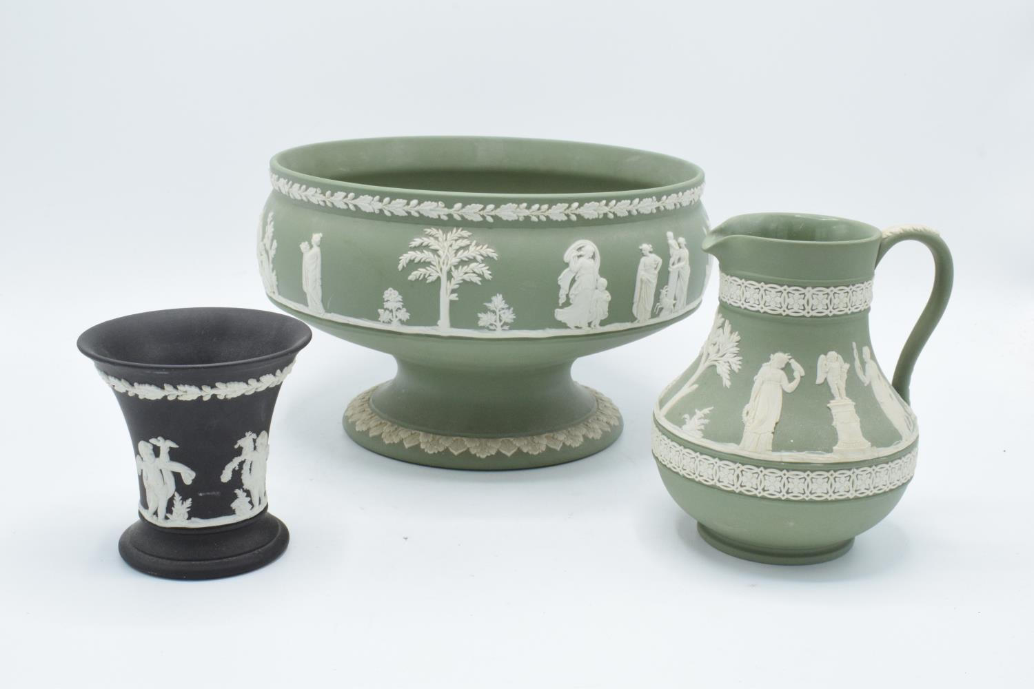 Wedgwood Jasperware sage green footed bowl together with a water jug and a black vase (3). In good