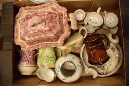 A collection of mainly 19th century pottery to include Masons Tureen af, Royal Winton etc. Condition