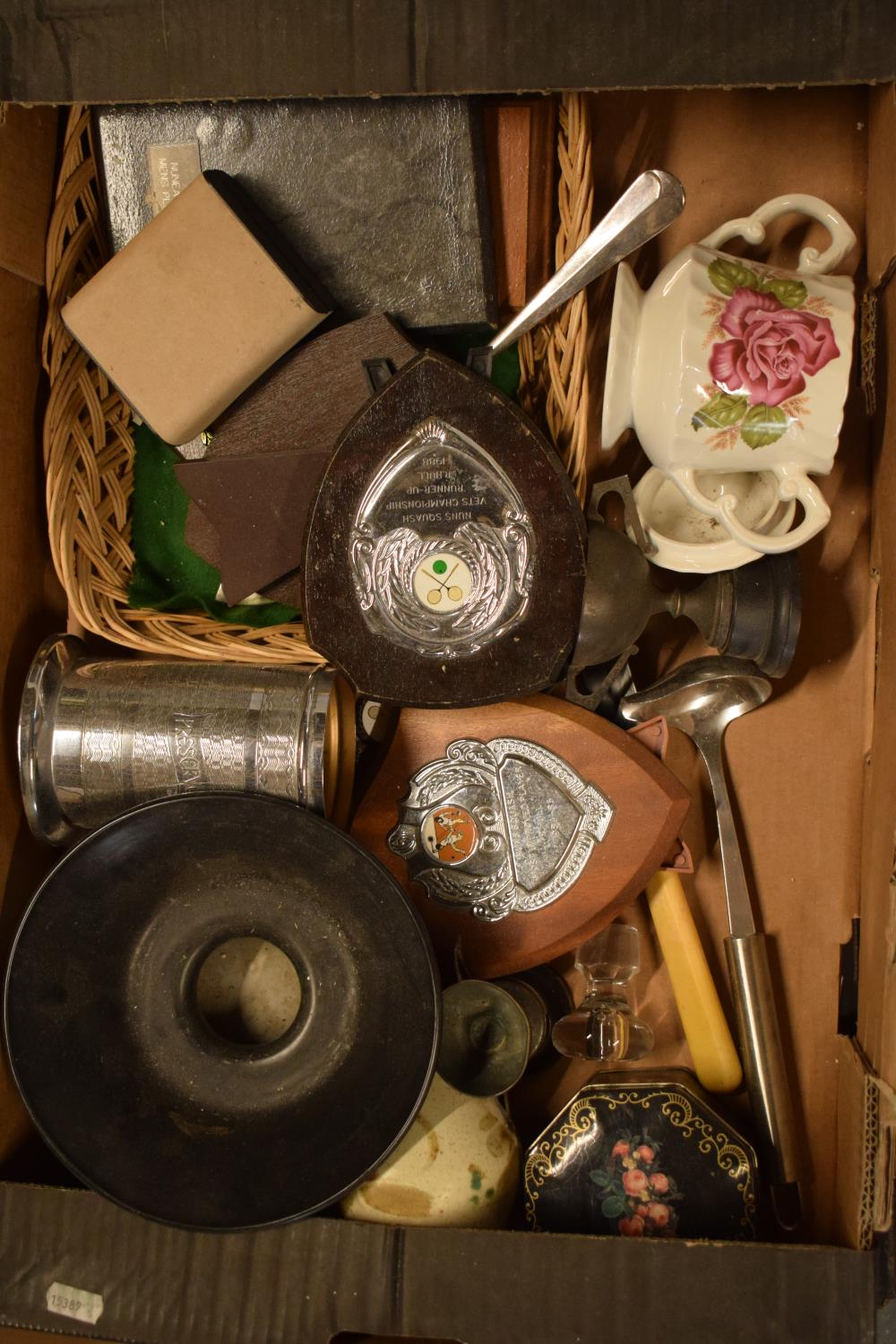 A mixed collection of items to include pottery, trophies, metalware etc. Condition is mixed. No
