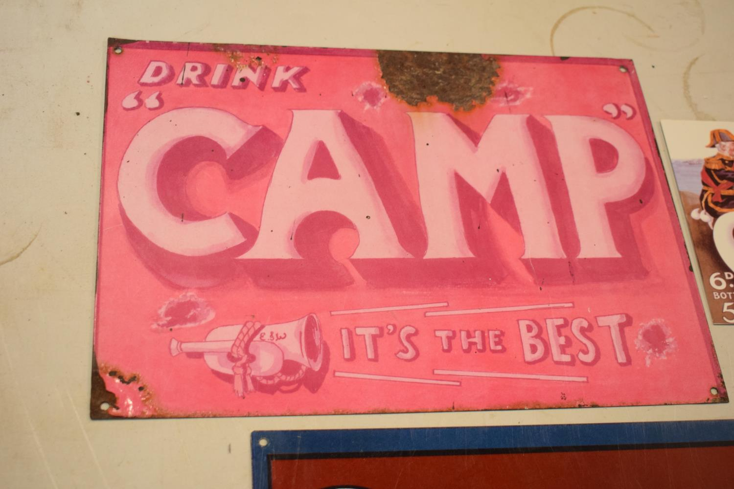 A collection of metal advertising signs including Bovril and 2 Camp (3) Rust and wear to the pink - Image 3 of 5