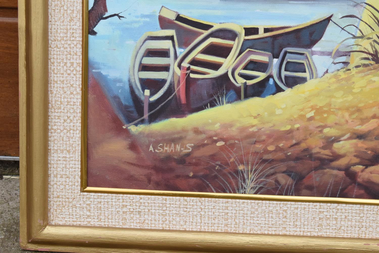 Framed oil painting of a lakeside scene, signed. - Image 5 of 6