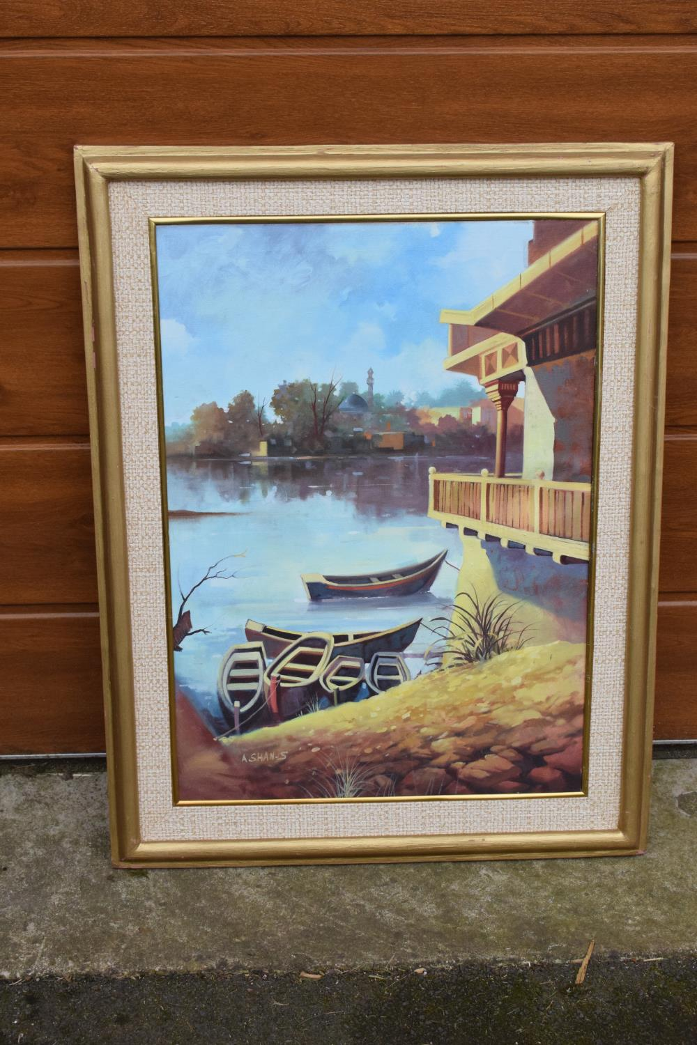Framed oil painting of a lakeside scene, signed. - Image 2 of 6