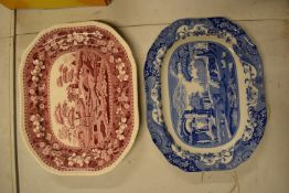 Spode meat plates to include Blue Italian pattern and Pink Tower, both seconds. In good condition