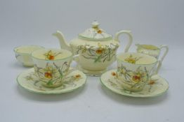 Crown Staffordshire tea for two set in a floral design. In good condition with no obvious damage
