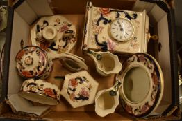 A collection of Masons Blue Mandalay and Chartreuse items to include a large clock, photo frames,