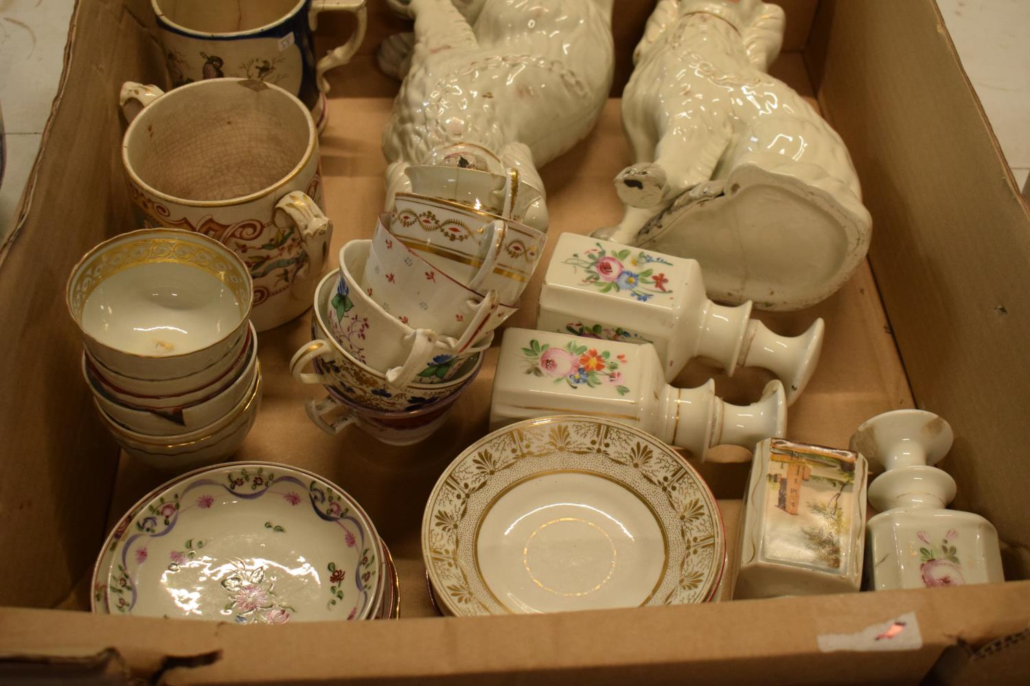 A collection of 19th century pottery to include Staffordshire dogs, tankards, opaque bottles etc. No - Image 2 of 3