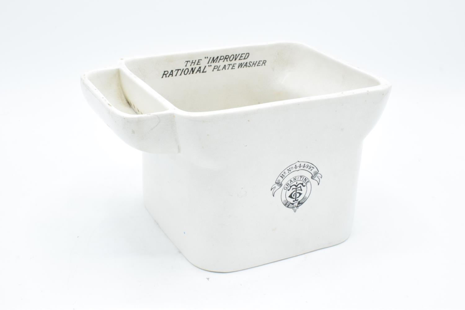 Late 19th century ironstone Granitime Improved Rational Plate Washer for photographers. With some