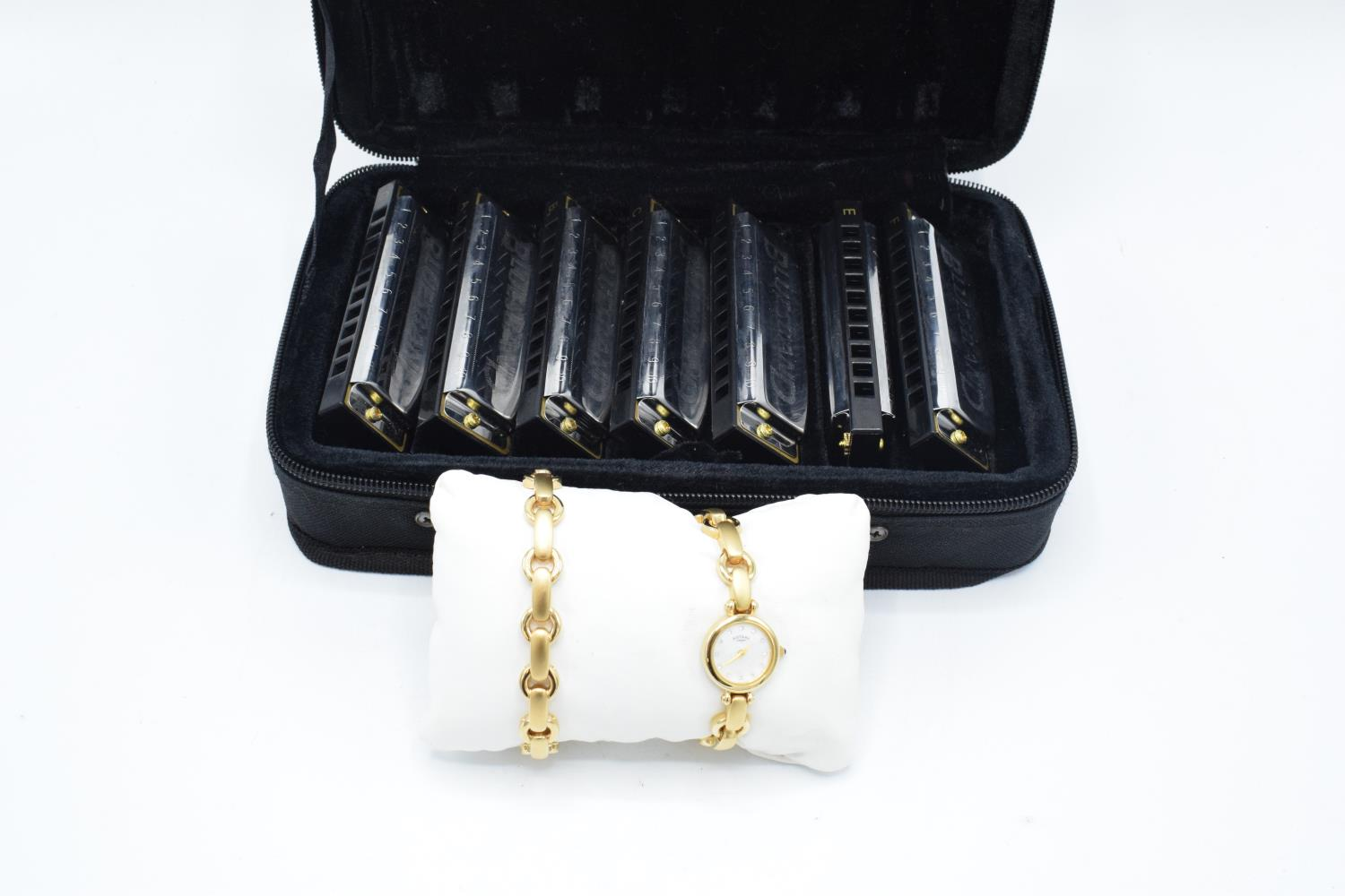 Hohner blues harmonica set together with a boxed Rotary ladies watch and bracelet set(2). In good