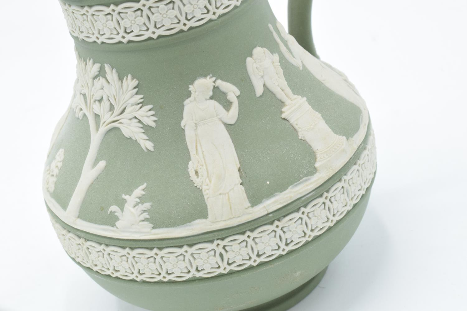 Wedgwood Jasperware sage green footed bowl together with a water jug and a black vase (3). In good - Image 5 of 5